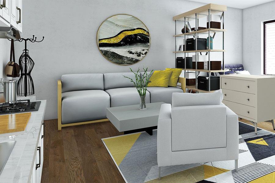 Wohlfühlmomente zuhause - Wohntrends in gelb-grau